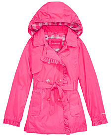 London Fog Big Girls Ruffled Trench Coat With Removable Hood