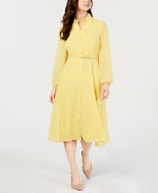 Alfani Belted Curvy-Fit Midi Shirtdress, Created for Macy's