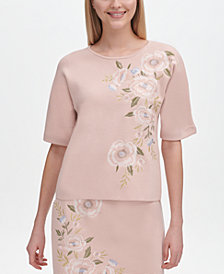 Calvin Klein Floral-Embroidered Short-Sleeve Top