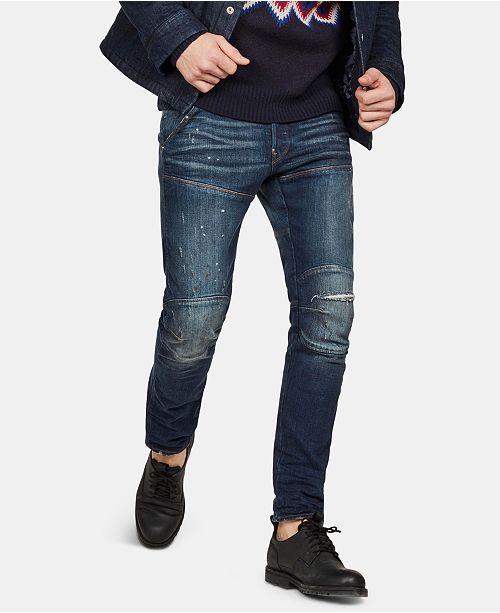 G Star Raw Men's 5620 3D Slim Fit Ripped Moto Jeans