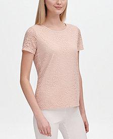 Calvin Klein Lace-Overlay Short-Sleeve Top