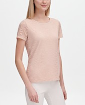 98b7afadf9beb Calvin Klein Lace-Overlay Short-Sleeve Top
