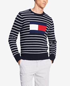 Tommy Hilfiger Men's Logo Intarsia Stripe Sweater
