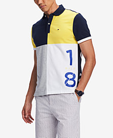 Tommy Hilfiger Men's Lucca Custom-Fit Stretch Colorblocked Printed Polo