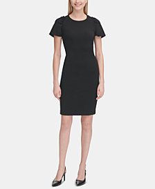 Calvin Klein Gathered-Shoulder Sheath Dress