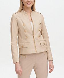 Calvin Klein Faux-Leather Military Jacket