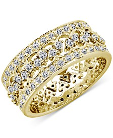 Giani Bernini 2-Pc. Set Cubic Zirconia Interlocking Crown Statement Ring in 18k Gold-Plated Sterling Silver, Created for Macy's