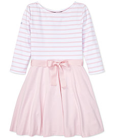 Polo Ralph Lauren Big Girls Striped Ponté-Knit Dress