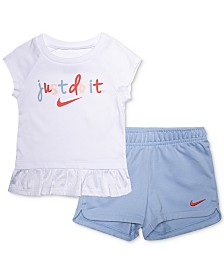 Nike Little Girls 2-Pc. Just Do It Graphic T-Shirt & Shorts Set