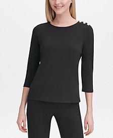 Calvin Klein Button-Shoulder 3/4-Sleeve Top