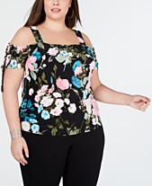 733fa8fca35c3 I.N.C. Plus Size Printed Cold-Shoulder Top