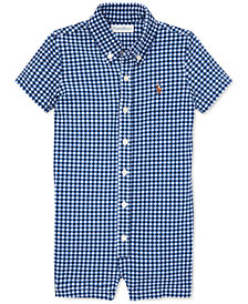 Polo Ralph Lauren Baby Boys Gingham Knit Oxford Cotton Shortall