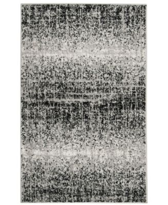 Adirondack Silver and Black 6' x 6' Square Area Rug