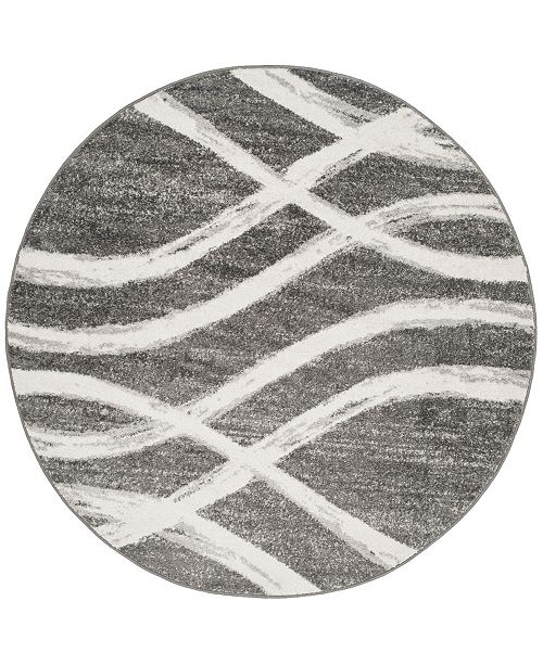 Safavieh Adirondack Charcoal and Ivory 6' x 6' Round Area Rug