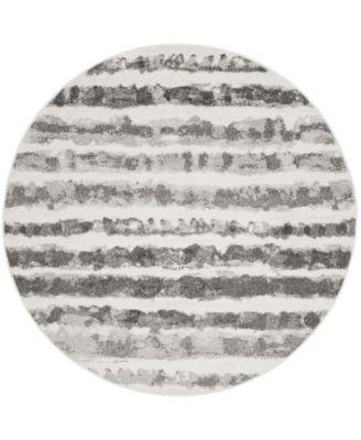 Adirondack Ivory and Charcoal 6' x 6' Round Area Rug
