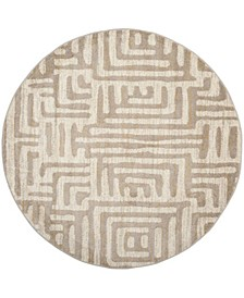 """Amsterdam Ivory and Mauve 6'7"""" x 6'7"""" Sisal Weave Round Area Rug"""