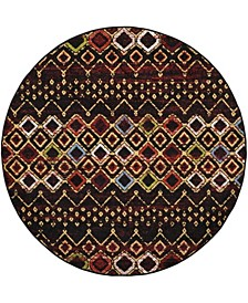 "Amsterdam Black and Multi 6'7"" x 6'7"" Round Area Rug"