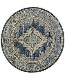 Crystal Blue and Yellow 7' x 7' Round Area Rug