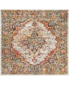 Crystal Cream and Rose 7' x 7' Square Area Rug