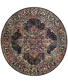 Crystal Navy and Light Blue 7' x 7' Round Area Rug