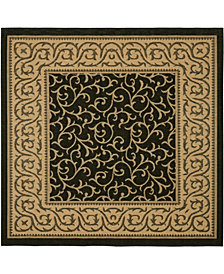 """Safavieh Courtyard Black and Natural 6'7"""" x 6'7"""" Sisal Weave Square Area Rug"""