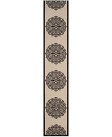 "Safavieh Courtyard Beige and Black 2'4"" x 12' Sisal Weave Runner Area Rug"