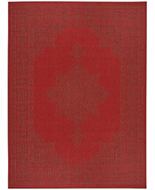 Safavieh Courtyard Red and Chocolate 8' x 11' Sisal Weave Area Rug