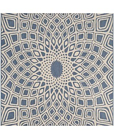 "Safavieh Courtyard Blue and Beige 6'7"" x 6'7"" Sisal Weave Square Area Rug"
