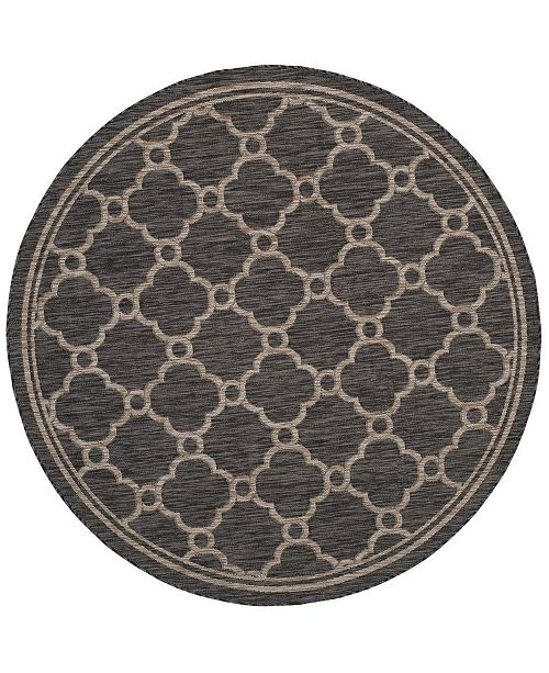 """Safavieh Courtyard Natural and Black 6'7"""" x 6'7"""" Round Area Rug"""