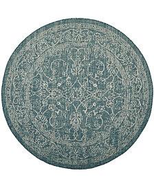 "Safavieh Courtyard Turquoise 6'7"" x 6'7"" Sisal Weave Round Area Rug"