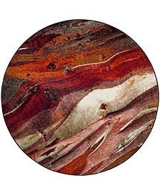 "Glacier Red and Multi 6'7"" x 6'7"" Round Area Rug"
