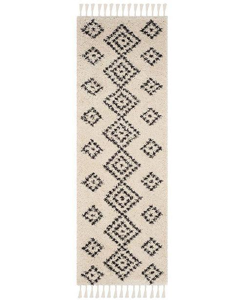 "Safavieh Moroccan Fringe Shag Cream and Charcoal 2'3"" X 7' Runner Area Rug"