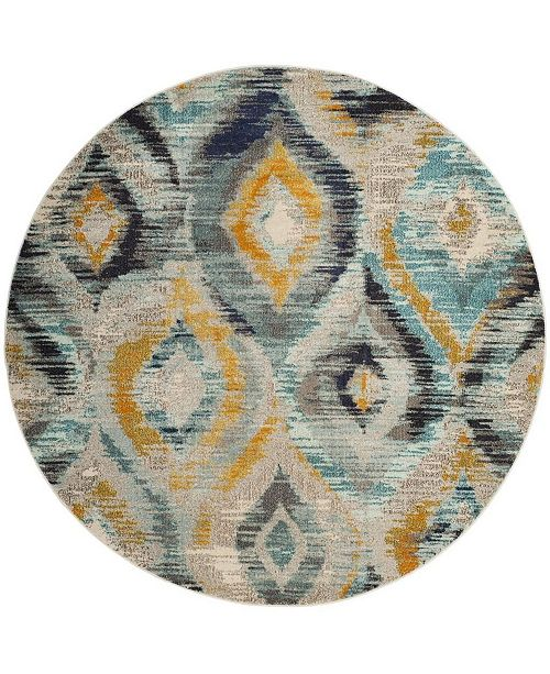 "Safavieh Monaco Blue and Multi 6'7"" x 6'7"" Round Area Rug"