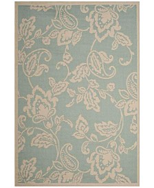 """Martha Stewart Collection Aqua and Beige 5'3"""" x 7'7"""" Area Rug, Created for Macy's"""