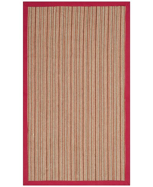 Safavieh Natural Fiber Brown and Red 3' x 5' Sisal Weave Area Rug