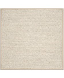 Natural Fiber Marble and Linen 6' x 6' Sisal Weave Square Area Rug
