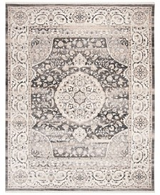Vintage Persian Dark Gray and Ivory 8' x 10' Area Rug