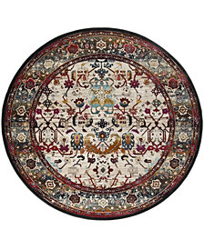 "Safavieh Baldwin Ivory and Anthracite 6'7"" x 6'7"" Round Area Rug"