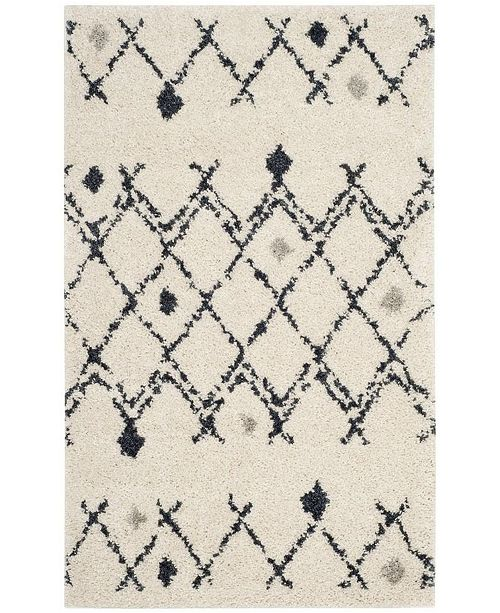 Safavieh Berber Shag Cream and Navy 3' x 5' Area Rug