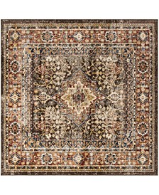 "Bijar Brown and Rust 6'7"" x 6'7"" Square Area Rug"