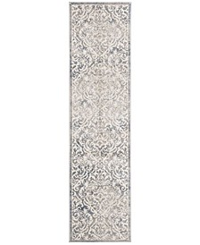 Brentwood Light Grey and Blue 2' x 8' Runner Area Rug