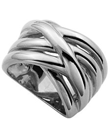 925 Sterling Silver Bypass Design Band Ring