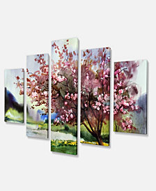 """Designart Tree With Spring Flowers Floral Art Canvas Print - 60"""" X 32"""" - 5 Panels"""