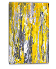 """Designart Grey And Yellow Abstract Pattern Abstract Canvas Print - 30"""" X 40"""""""