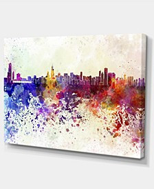 "Designart Chicago Skyline Cityscape Canvas Art Print - 32"" X 16"""