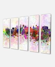 """Designart Kansas City Skyline Cityscape Canvas Art Print - 60"""" X 28"""" - 5 Panels"""