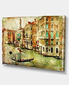 "Designart Vintage Venice Digital Art Landscape Canvas Print - 32"" X 16"""