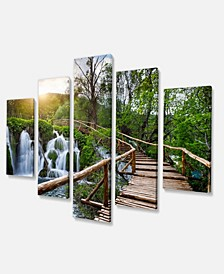 "Designart Pathway In Plitvice Lakes Photography Canvas Art Print - 60"" X 32"" - 5 Panels"