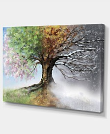 "Designart Tree With Four Seasons Large Tree Painting Canvas Art Print - 32"" X 16"""