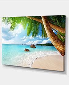 "Designart Praslin Island Seychelles Beach Seashore Photo Canvas Print - 32"" X 16"""